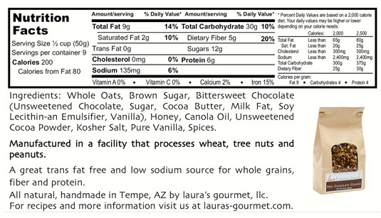 Hot Chocolate Crunch Nutritional info