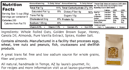 Vanilla Almond Crunch nutrition label